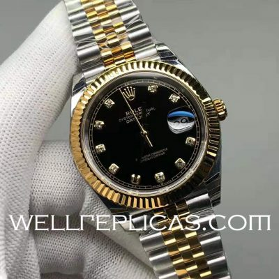 Rolex Datejust Man Gold-plated Black Dial Business Mechanical Casual Watch
